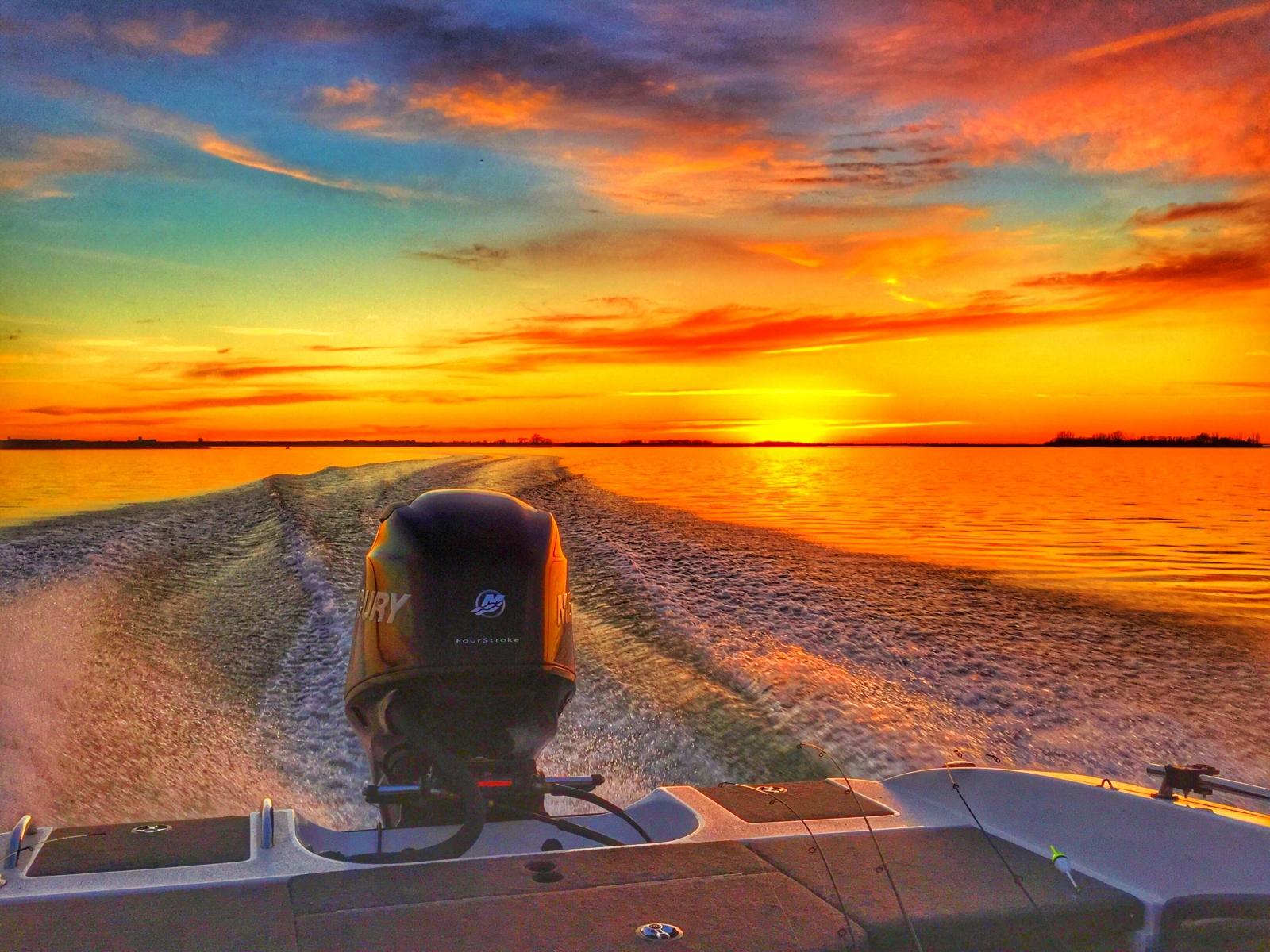 Fiery Sunset on Devils Lake